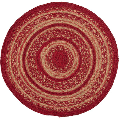 """Cherry Red & Natural Braided Jute Country 13"""" Round Tablemat Trivet"""
