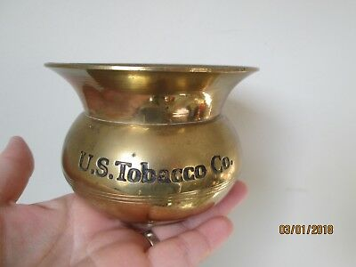 VTG SOLID BRASS U.S. TOBACCO CO. MINIATURE SPITOON SHAPED ASHTRAY advertising