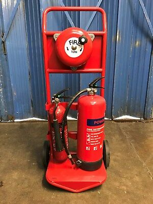 Double Fire Extinguisher Point Stand Site Trolley With Rotary Hand Bell