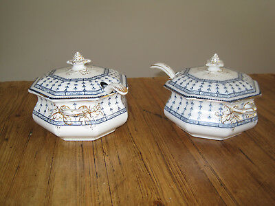 Pair of Keeling and Co Losol Ware blue Pompadour tureens complete with spoons