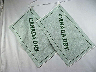 Vintage Canada Dry Golf/Bar Towel With Clip Ring - Set of (2) - NOS