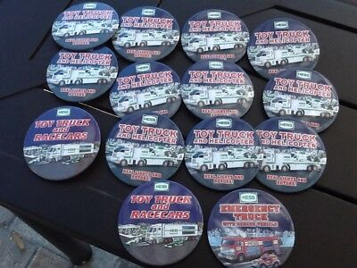 Lot Of 14 Hess Fire Truck Race Car/Helicopter Pin Back Button in New Condition