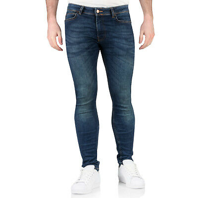 New Topman Mens Spray On Skinny Jeans Super Slim Fit Blue Denim Stretch Trousers