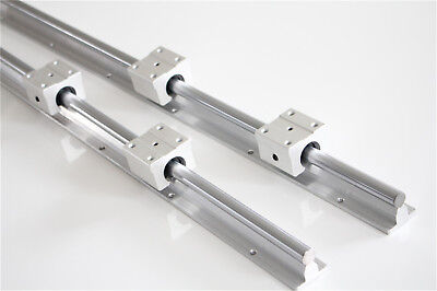 2Pcs SBR12 L300-1500mm  Linear Rails Fully Supported Shaft Rod + 4Pcs SBR12UU