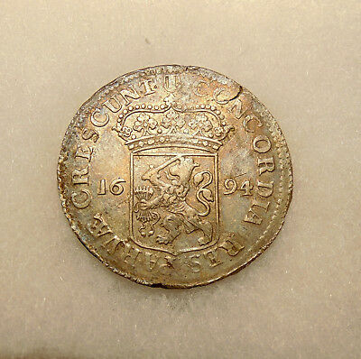 1694 Netherlands - Silver Ducat - Sharp Looking Coin - FREE SHIPPING
