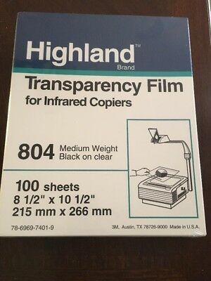 NEW Highland by 3M 804 Transparency Film for Infrared Copiers 100 Sheets
