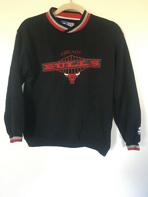 Vtg 90S Boys Starter Nba Chicago Bulls Black Red  Long Sleeve Sweater -Sz Medium