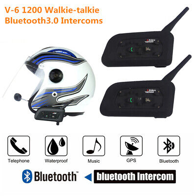 2pcs V6 1200M Motorcycle Helmet Interphone Bluetooth Intercom GPS Headset 6Rider
