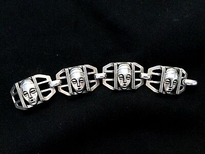 Antique Art Deco Sterling  Silver Bracelet From 1930-1940S Magnificent,signed.