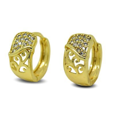 9ct Gold Filled Womens Hoop Earrings Eternity Infinity Love White CZ Crystals 9K