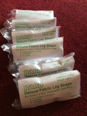 Qty 6 Pairs Of Bard Deluxe Leg Straps Dipoz-a-Bag Disposable Urine Bags 150507