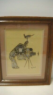 """Vintage Signed Girard Framed Watch Parts Photographer Camera 9.5"""" X 11.5"""""""