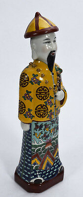 Old Chinese Polychromed Porcelain Standing Male Figure w/ Long Queue & Beard