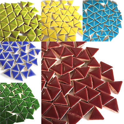 Glazed Ceramic Triangles for Craft Mosaics - 50g Various Colours