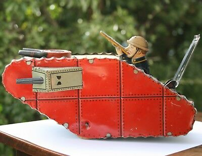 Großer Panzer Tank Blech Tommy Ami Soldat 1. WK Weltkrieg Made in Germany