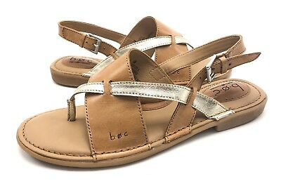 3575a12f0ec7 BOC Born Womens 8M Brown Gold Leather Slingback Asymmetrical Thong Sandals  Flats