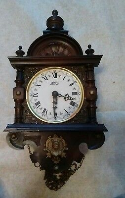 Old German Wall Clock For Spares Or Repair Only,case And Movement Only.
