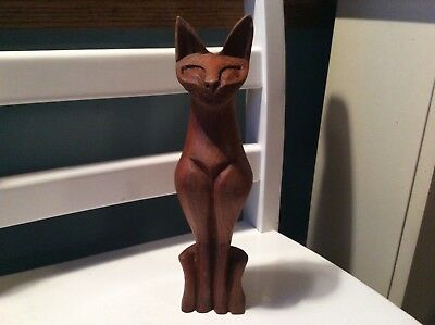 1950s Vintage Folk Art Hand Carved Wooden Cat-Excellent Condition Estate Piece