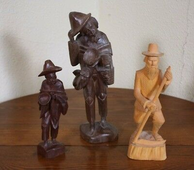 Lot 3 Antique Vtg Collection Folk Art  Carved Wood Men Figures Ecuador E. Europe