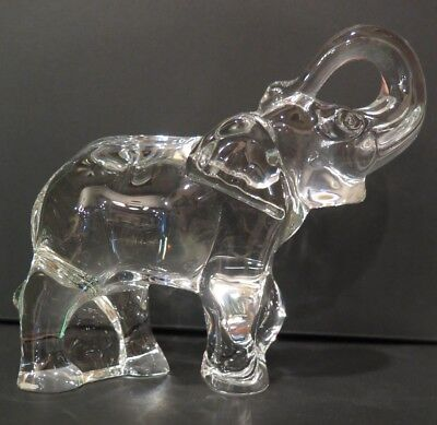 "Baccarat Elephant Figurine 6 1/2"" tall Trunk Up"