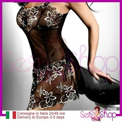 Sexy Baby Doll nero ricami in Pizzo biancheria Intimo notte Lingerie trasparente