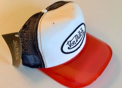**NEW** Von Dutch Hat White Swede w/Blue Mesh w/RARE Red UV Bill w/Wht Patch