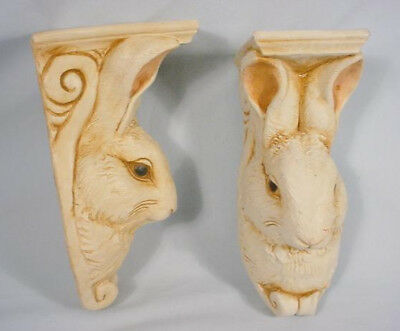 Telle M Stein Bunny Rabbit Wall Sconce Accent Shelves Chalkware 1995