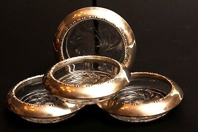 Vintage Set of 4 AMSTON Sterling Silver Coasters ~ Numbered