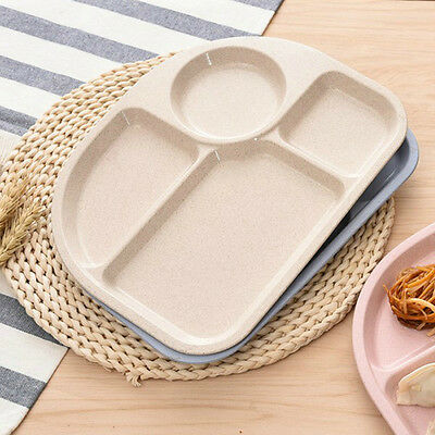 One-piece Silicone Mat Baby Suction Table Food Tray Wheat Straw+PP Nice Pop
