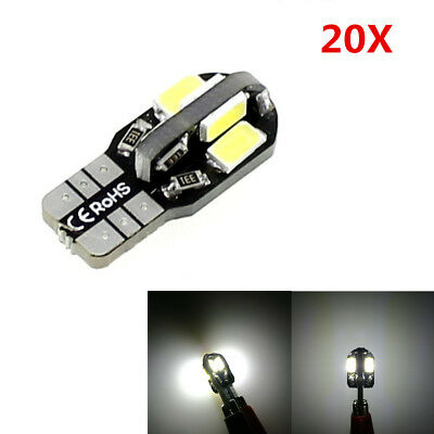 20Pcs T10 194 168 W5W 5730 8 LED Canbus SMD Car Side Wedge Light Lamp Bulb DC12V