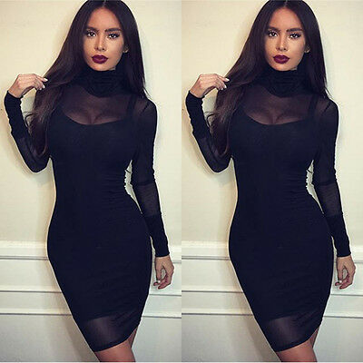 Sexy Women Black Bodycon Lace Evening Cocktail Party Long Sleeve Mini Dress YU