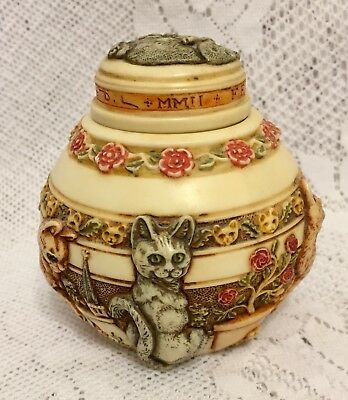 "JARDINIA Felinicity by Martin Perry Harmony House 3.75"" CATS Trinket Jar"