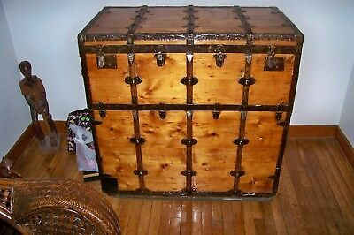 Antique German 1890's Immigrant Steamer Cargo Trunk ( One Of A Kind)
