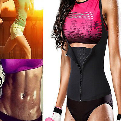 Hot Neoprene Waist Trainer Sauna Belt Body Shaper Zipper Vest for Weight Loss US