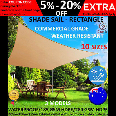New RECTANGLE SHADE SAIL PATIO COVER Canopy Heavy Duty Sun Outdoor Pool Sunsail