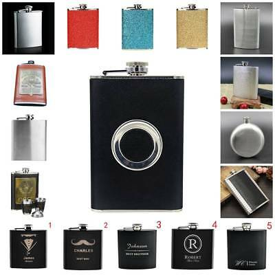 Stainless Steel Hip Liquor Whiskey Pocket Alcohol Flask Box+Funnel 5/6/7/8/9oz D