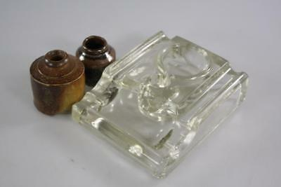 Antique English Crystal Art Glass Inkwell And Two Ceramic Ink Bottles Lot