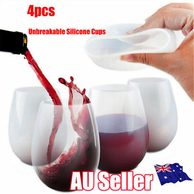 4Pcs BBQ Silicone Wine Glass Unbreakable Stemless Rubber Beer Mug Outdoor  NW