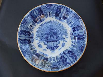 Antique Dutch Delft Blue & White Peacock Charger  Plate Marked Holland 1900's