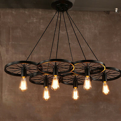 Industrial Vintage Metal Pendant Light Iron 1/3/6 Wheels Hanging Lamp Fixtures