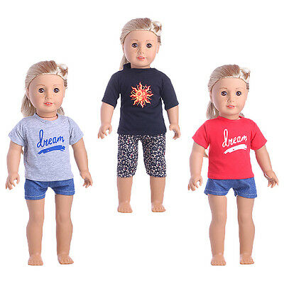 Doll Clothes Handmade T-shirt + Jeans Pants Accessories for 18inch Girl Doll Pro