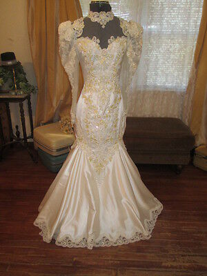 Ornate Beaded 80s Fit & Flare Mermaid Victorian Wedding Dress  Satin Bust-33""