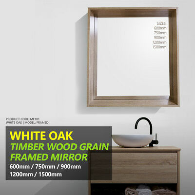 White Oak Timber Wood Grain Wall Mounted Framed Mirror | 600/750/900/1200/1500mm