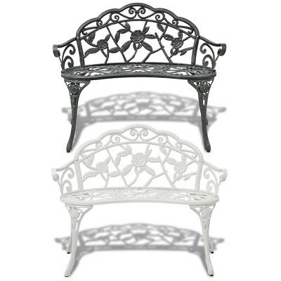 Patio Garden Bench Porch Park Cast Aluminum Outdoor Rose Antique Green/White