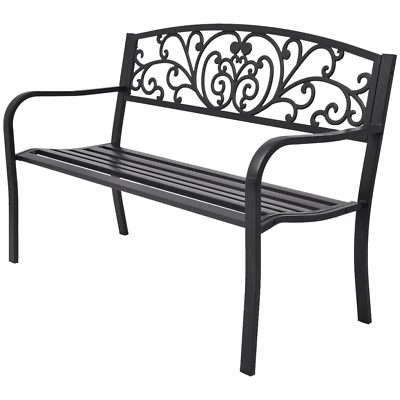 "50"" Outdoor Patio Park Garden Bench Porch Chair Steel Frame Cast Iron Backrest"