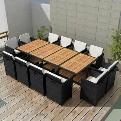 vidaXL Outdoor Dining Set 37 Piece Wicker Poly Rattan Black Glass Table Chairs