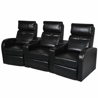 Black Artificial Leather 3-Seat Home Theater Recliner Sofa Lounge w/Cup Holder