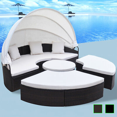 rattan lounge muschel, vidaxl outdoor lounge set 2-in-1 poly rattan wicker round sunbed, Design ideen