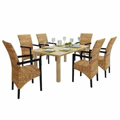vidaXL Rattan Wicker Chair Abaca Armchair Dining Chairs Solid Mango 2/4/6 pcs
