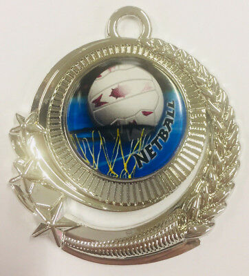 Netball Medal Silver Medals Trophy Award 50mm FREE Engraving & Neck Ribbon